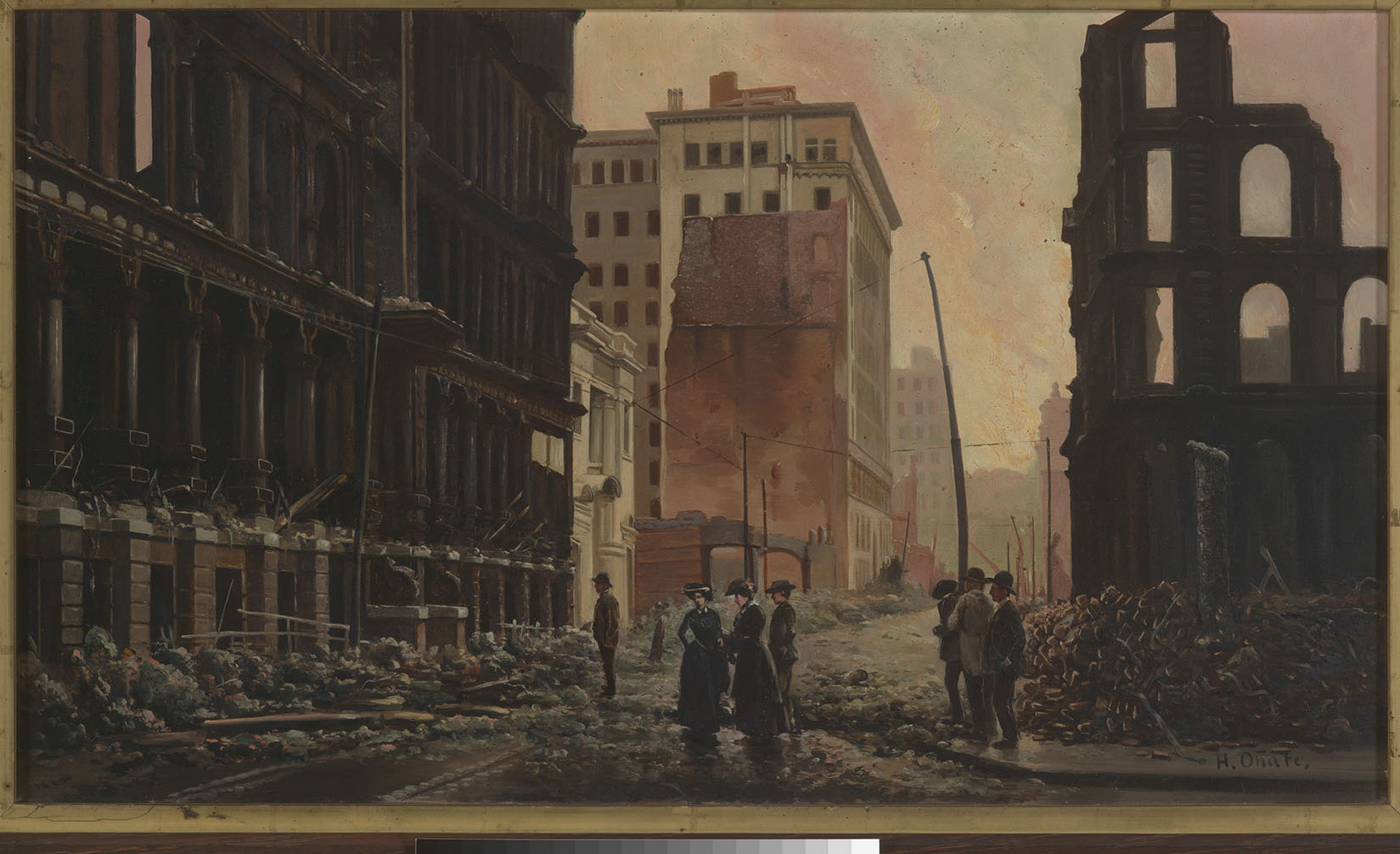 Painting of damaged buildings from the 1906 San Francisco earthquake