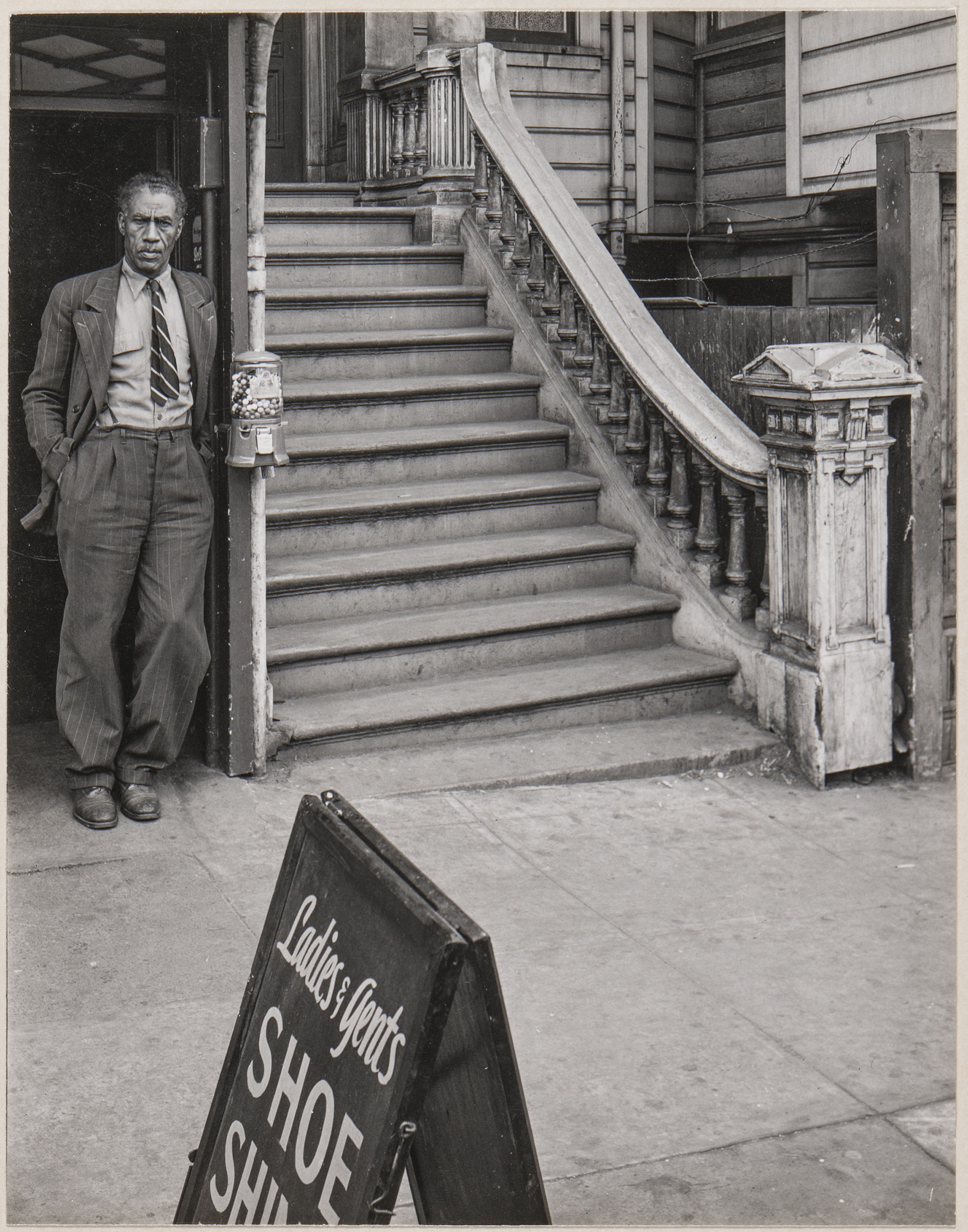 Minor White Photograph - Elk's Shoe Shine Parlor