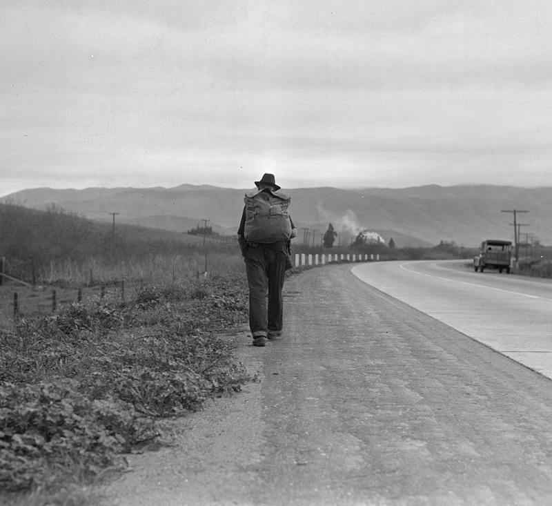 Lange, Dorothea, photographer. Bum blockade